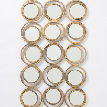 Iron Circle Mirror by Anthropologie Bronze One Size Wall Decor