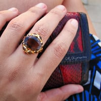 Tiger Ring 14K gold. (Gem Power Ring)