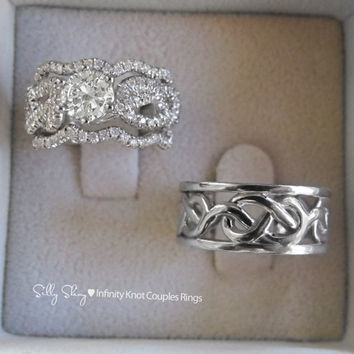 Infinity knot Couples Rings Set. Engagement Ring With Wedgin Matching Bands/ 14K gold Semi Mountiong