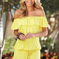 Ruffle off the shoulder romper  from VENUS