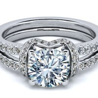 Engagement Ring - Round Diamond Engagement Ring Double Pave Band in 14K White Gold - ES1071BRWG