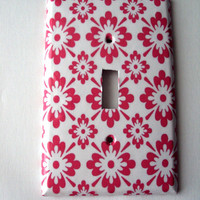 SALE Pink Flowers Switchplate Cover in Single or Double Toggle