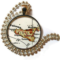 Sicily, Italy necklace pendant charm, Italian Jewelry, Italian necklace, Sicilian map jewelry