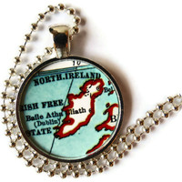 Ireland necklace, Irish Jewelry pendant charm, Ireland map jewelry photo pendant by Location Inspirations