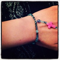 Blue & Pink Cross Bracelet from La Fede Boutique