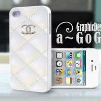 iPhone 4/4s case, Chanel White Quilt design, custom cell phone case