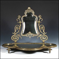 Antique Vanity Mirror - Beveled w/ Platform and Ornate Cast Bronze Frame - Mirrors
