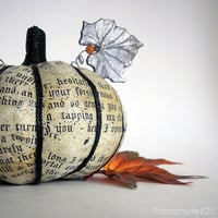 Poe Pumpkin Harvest 123, decoupage, Halloween, The Raven, macabre, goth, ooak, cream and black