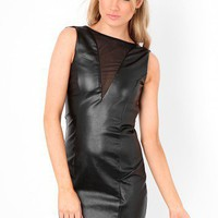Missguided - Oksana Mesh Insert Leather Look Dress