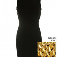 LOVE Black Bodycon Dress With Gold Shoulder Studs  - Love