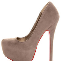 Mystic Grey Red-Soled Platform Pumps