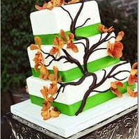 green and orange wedding cake