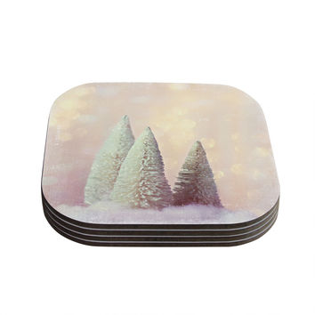 """Sylvia Cook """"Bottle Brush Trees"""" Pink Coasters (Set of 4) - 4"""" x 4"""""""