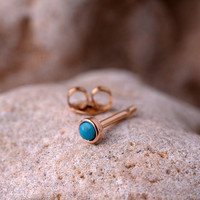 TRAGUS STUD 2mm turquoise stone  in 3mm 14K yellow gold filled setting. Also nose or Ear Stud handcrafted