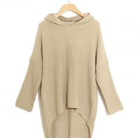 Beige Hooded Long Sleeve Sweater$39.00