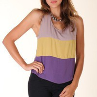 PURPLE COLOR BLOCK TOP @ KiwiLook fashion