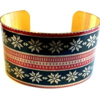 Holiday Christmas Ugly Sweater Snowflakes Vintage Style Brass Cuff Bracelet