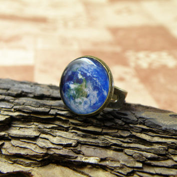SALE FREE SHIPPING Planet Earth antique brass and silver plated adjustable rings. World ring, Mother Earth jewelry. Space,  round ring