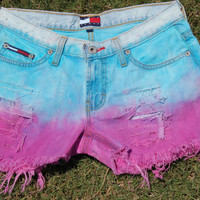 Blue & Pink Ombre Dip Dye Distressed Shorts