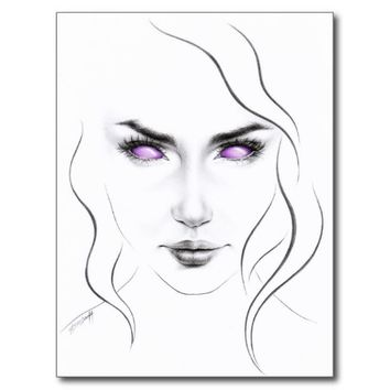 Woman with violet eyes minimal line art Postcard