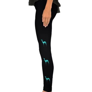 Greyhound/Whippet turquoise silhouette Leggings