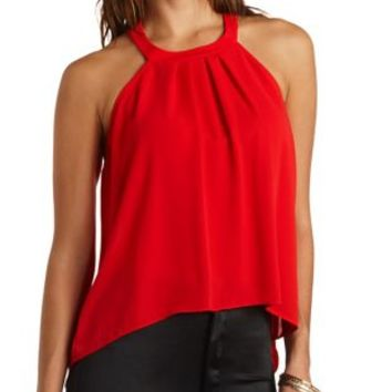 Lace Zipper Back Swing Tank Top by Charlotte Russe - Red