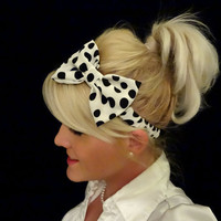 White and black big polka dot bow stretch headband retro/pinup/feminine