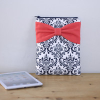 iPad Mini - Kindle - Nook - eReader Case - Navy and White Damask Coral Bow - Padded - Sized to Fit Any Brand by Almquist Design Studio