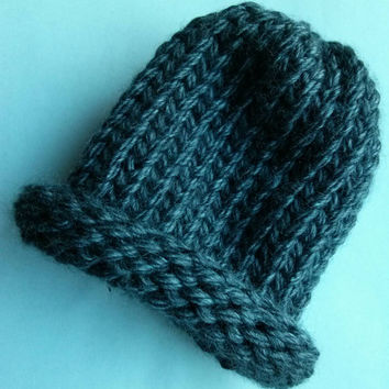 Baby Hat-Knit Hat-Infant Hat-Charcoal Gray
