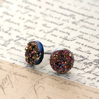 Black Friday. Faux Druzy Stud Earrings. Pink and Gold Glitter on Black. 10 mm Faux Druzy Posts.
