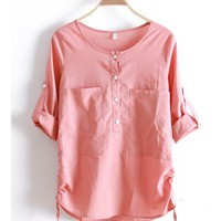 Autumn New Style Korea Long Sleeve Women Cotton Scoop Pleated Loose Pink Shirt Top M/L@WCM1270p $14.59 only in eFexcity.com.