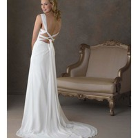 Chiffon Gown Embellished Straps Sweetheart Neckline Pleating Wedding Dress YSP052