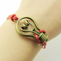 jewelry bangle vintage bracelet antique bronze bulb bracelet leather bracelet ,bulb cuff bracelet wrist  606A