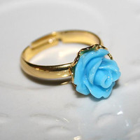 Sky Blue Rose ring, Little glossy Blue Rose bud Golden laced Ring, A symbol for Love, Gift idea for girlfriend teen woman, Choose color