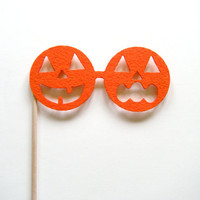 Halloween Jack O&#x27;Lantern glasses on a stick photo booth prop