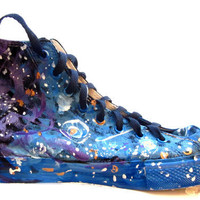 Custom painted galaxy stars sneakers men size 10