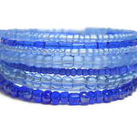 Blue Memory Wire Bracelet Stacked Bracelet