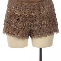 The Polished Peach Crochet Lace Shorts