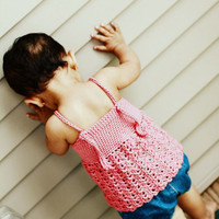 Dress Top Pink Sleeveless Knot back baby toddler Girls Summer Fashion Dewdrops