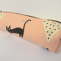 Pencil case Pencil pouch Zipper Kawaii black cat Pastel pink Black Beige