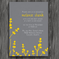 Printable Shower Invitation - Yellow and Grey Flowers