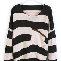 Black Stripes Loose Sweater with Pocket ST001H
