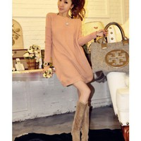 Pink Boat Neckline Loose Sweater Top@XYZ9097p
