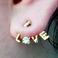 Love Earrings Wrap around Charms & Stems