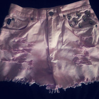 Baby Pink High Waist SKULL studded shorts