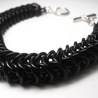 Unisex chainmaille bracelet, Mens, Black anodized aluminum, Flattened box chain