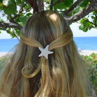 Small white knobby starfish barrette by LandlockedMermaids on Etsy