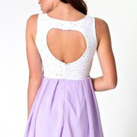 Lilac Dress with White Overlay Bodice&Heart Cutout Back