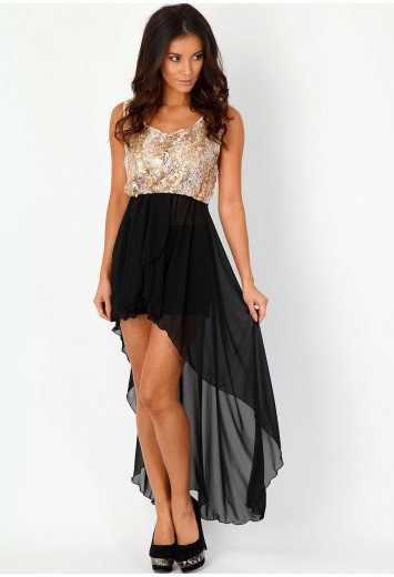 Missguided - Sonill Lace And Sequin Asymmetric Dress