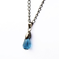Blue Crystal Necklace - on Gunmetal Chain with Gunmetal Bail